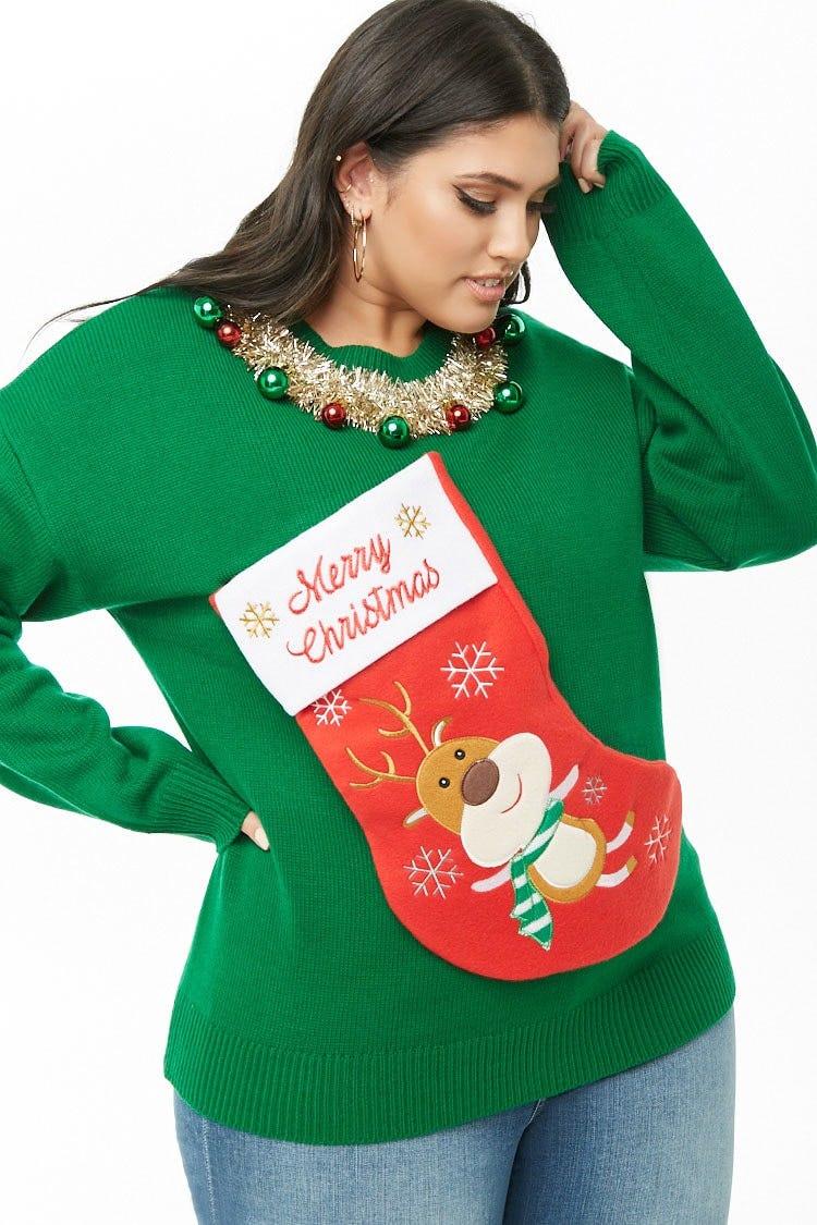 fc89dda7ce8 Plus Size Christmas Stocking Sweater