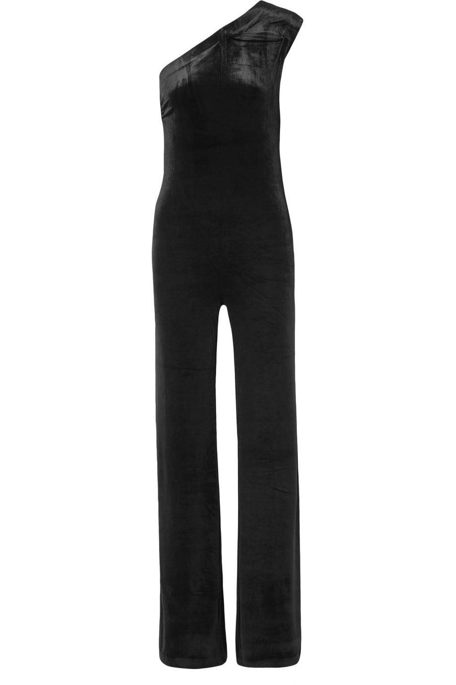 e68cec751bb0c One-shoulder stretch-velvet jumpsuit
