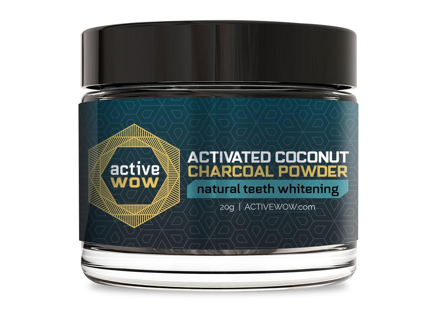 blanchiment des dents naturel de poudre de charbon de bois de noix de coco active wow