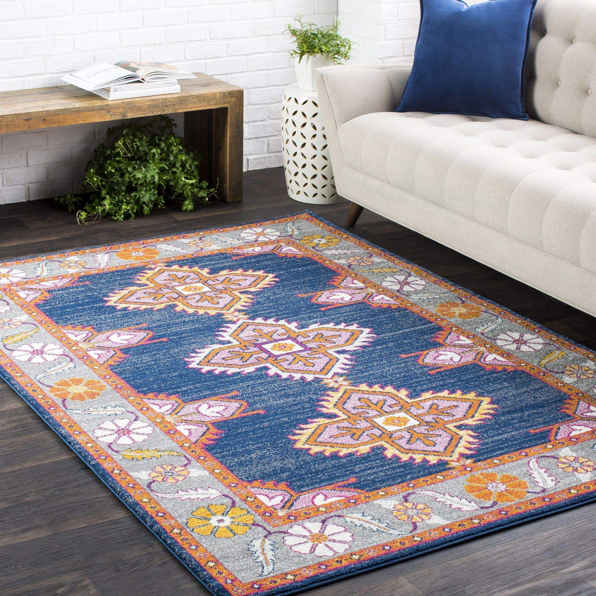 Arteaga Navy Blue Orange Pink Gray Area Rug