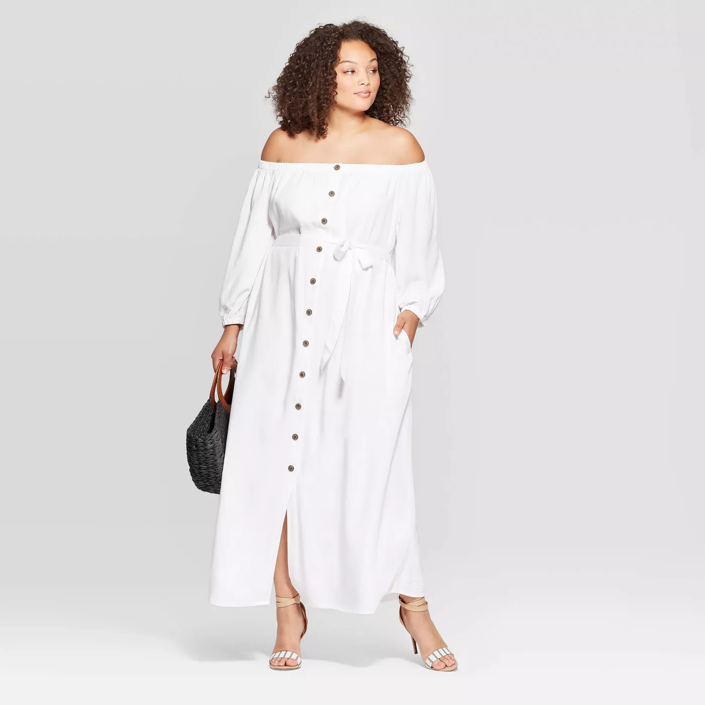 Plus Size Long Sleeve Off the Shoulder Button-Down Maxi Dress