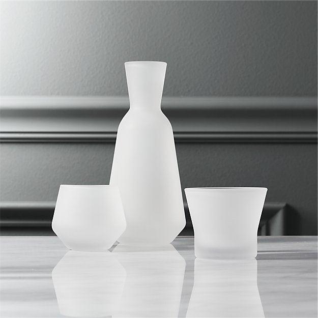 CB2 3-piece frosted sake set
