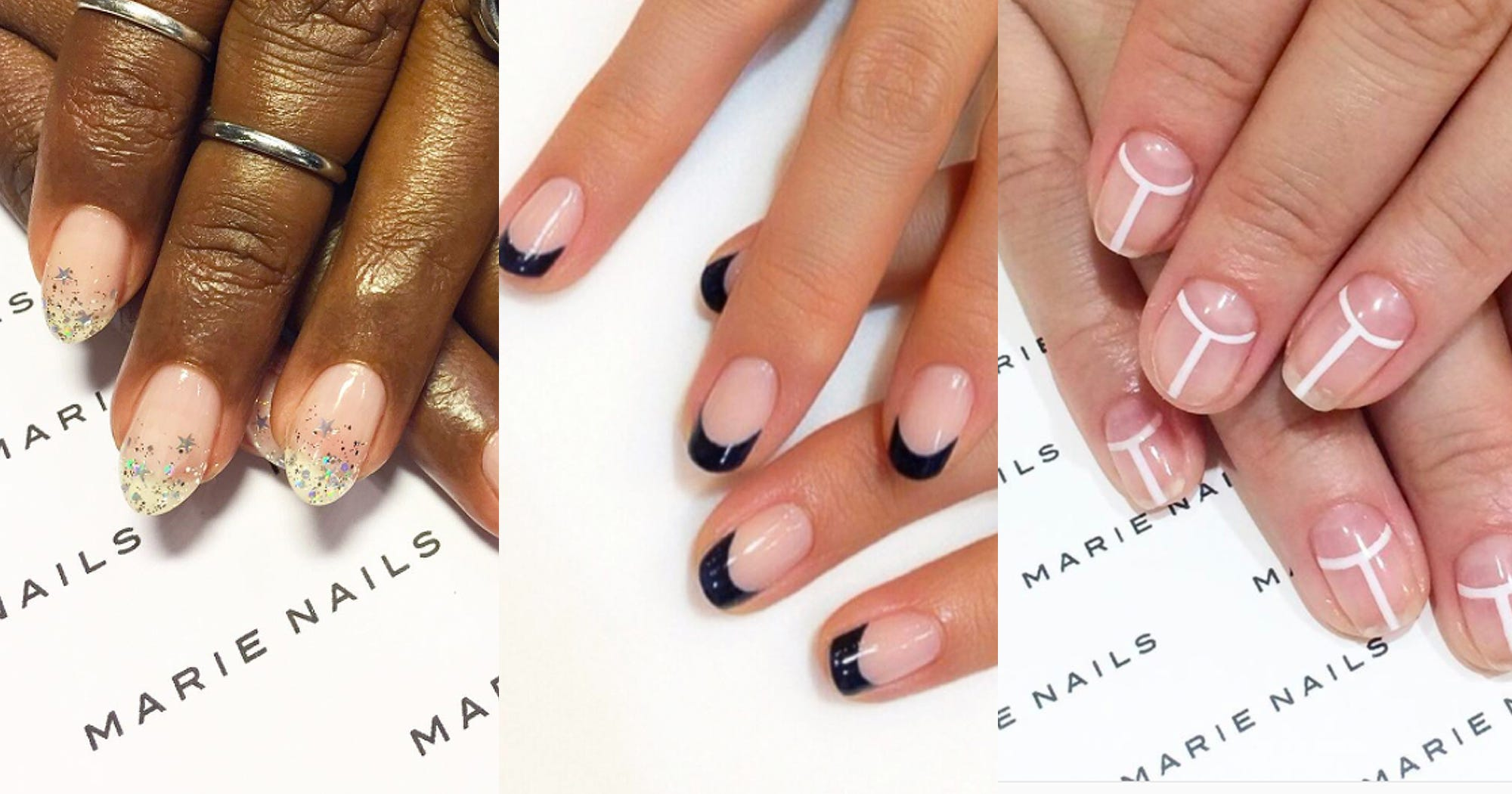 2019 year look- We peter love soms backwards french manicure