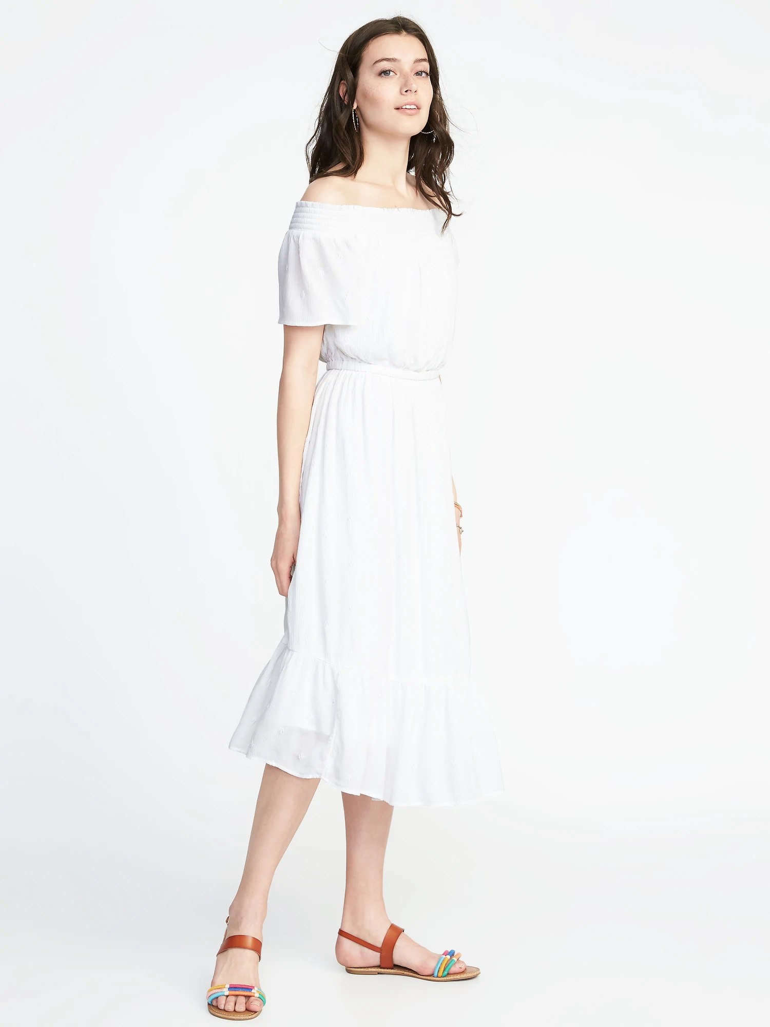4750cf35ab Waist-defined Off-the-shoulder Crinkle-gauze Midi Dress. $49.99$25.78. Buy  Now Review It. At Old Navy