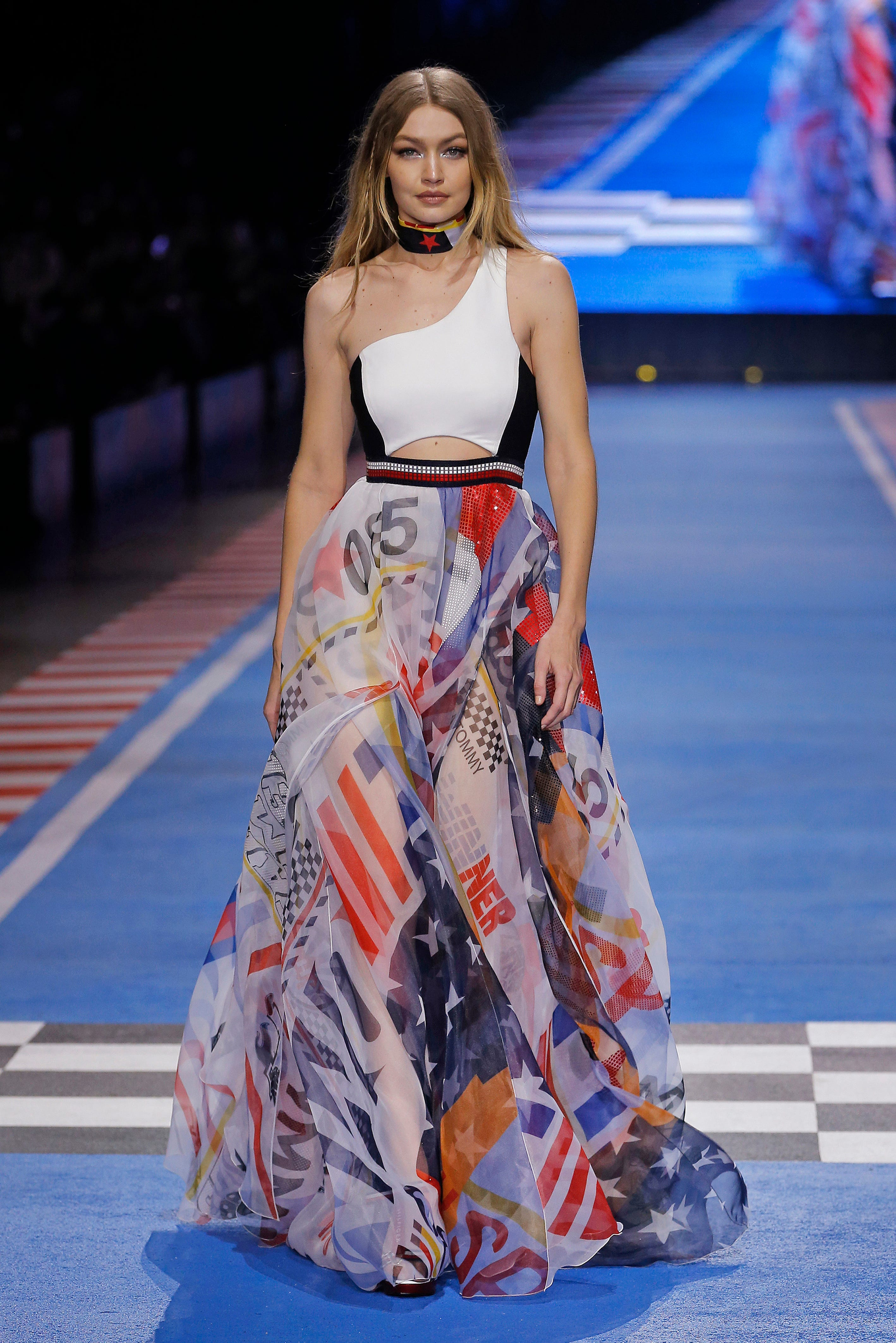 Tommy Hilfiger + One Shoulder Logo Maxi Dress
