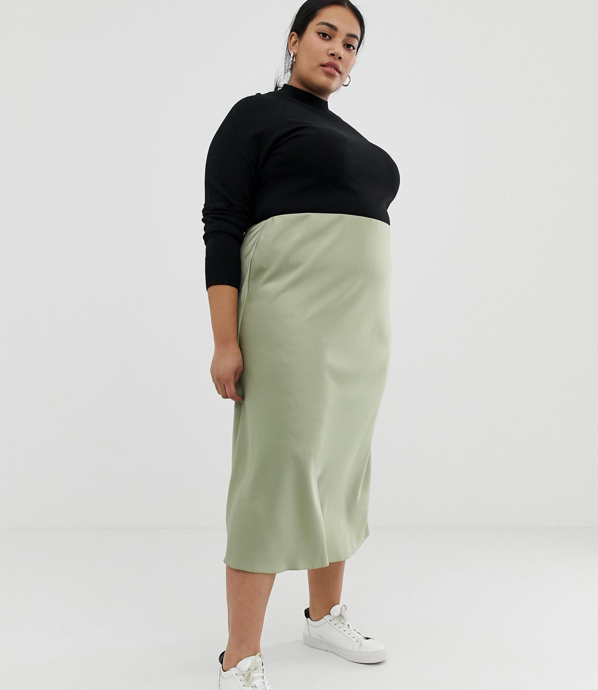 afdec08b9 ASOS CURVE + Curve Bias Cut Satin Slip Midi Skirt