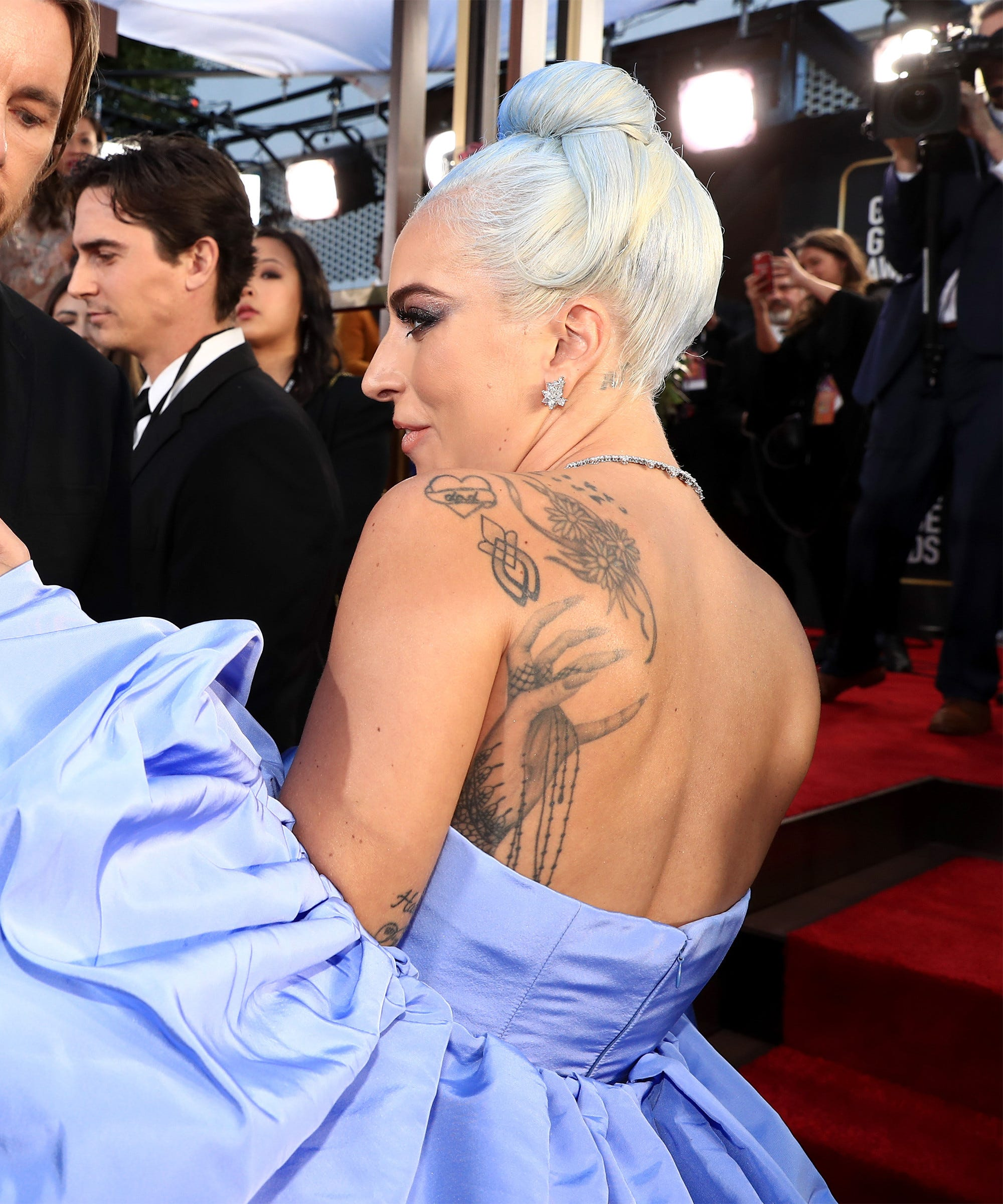 Lady Gaga Back Tattoos On Full Display At Golden Globes