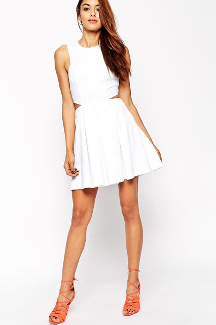 Skater Dress In Texture With Cut Out Side