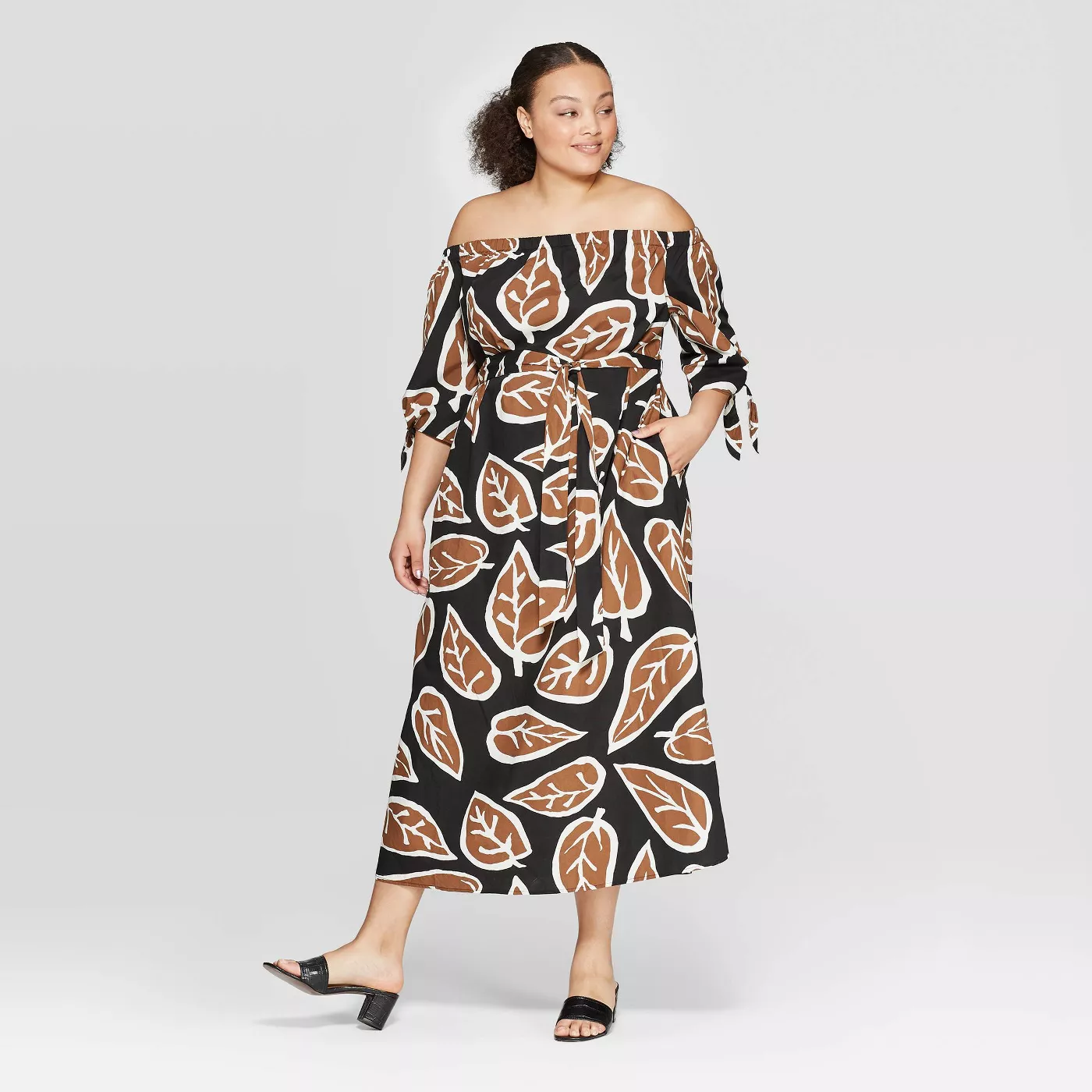Plus Size Off the Shoulder 3/4 Sleeve Cuff Maxi Dress