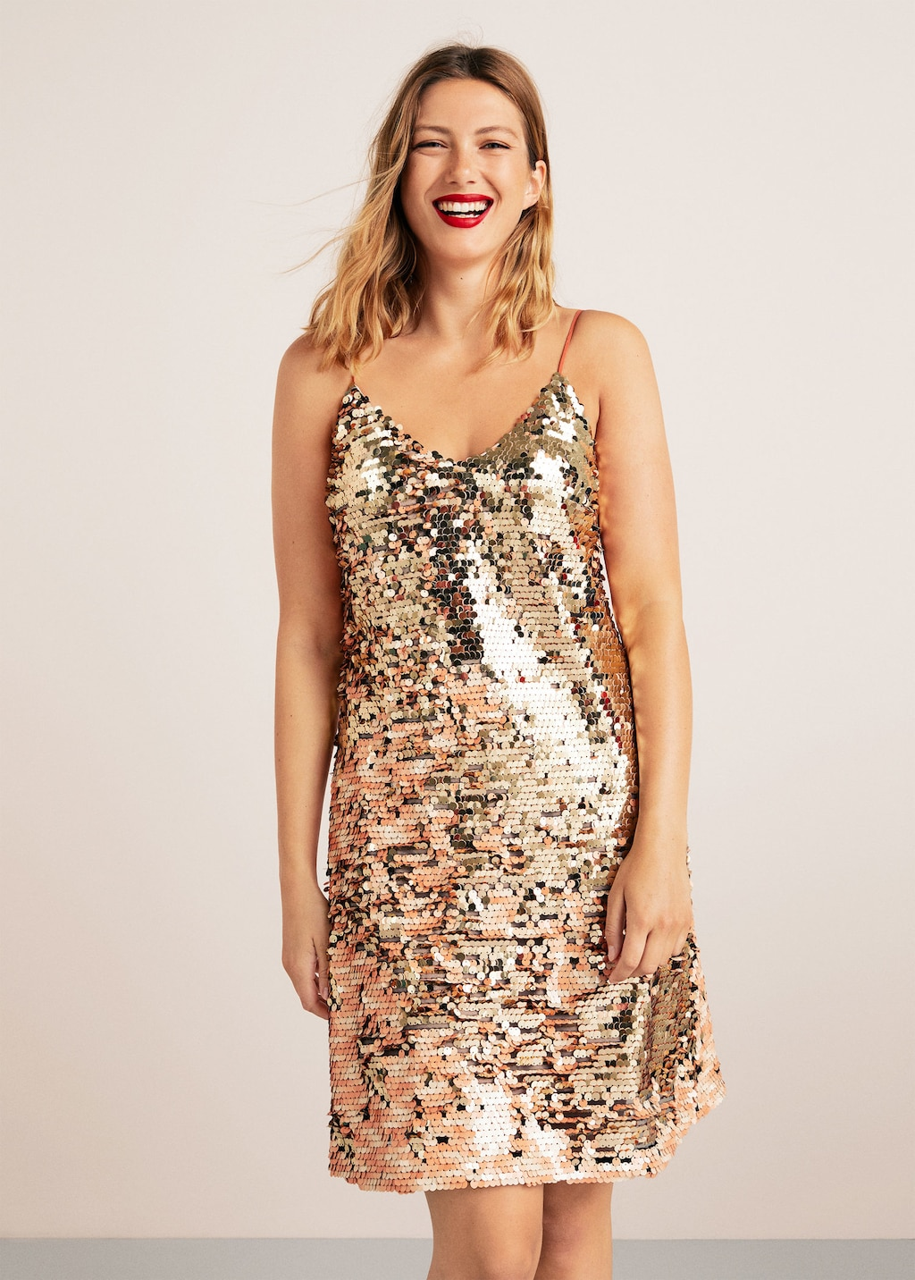 Plus Size Reversible Sequins Dress