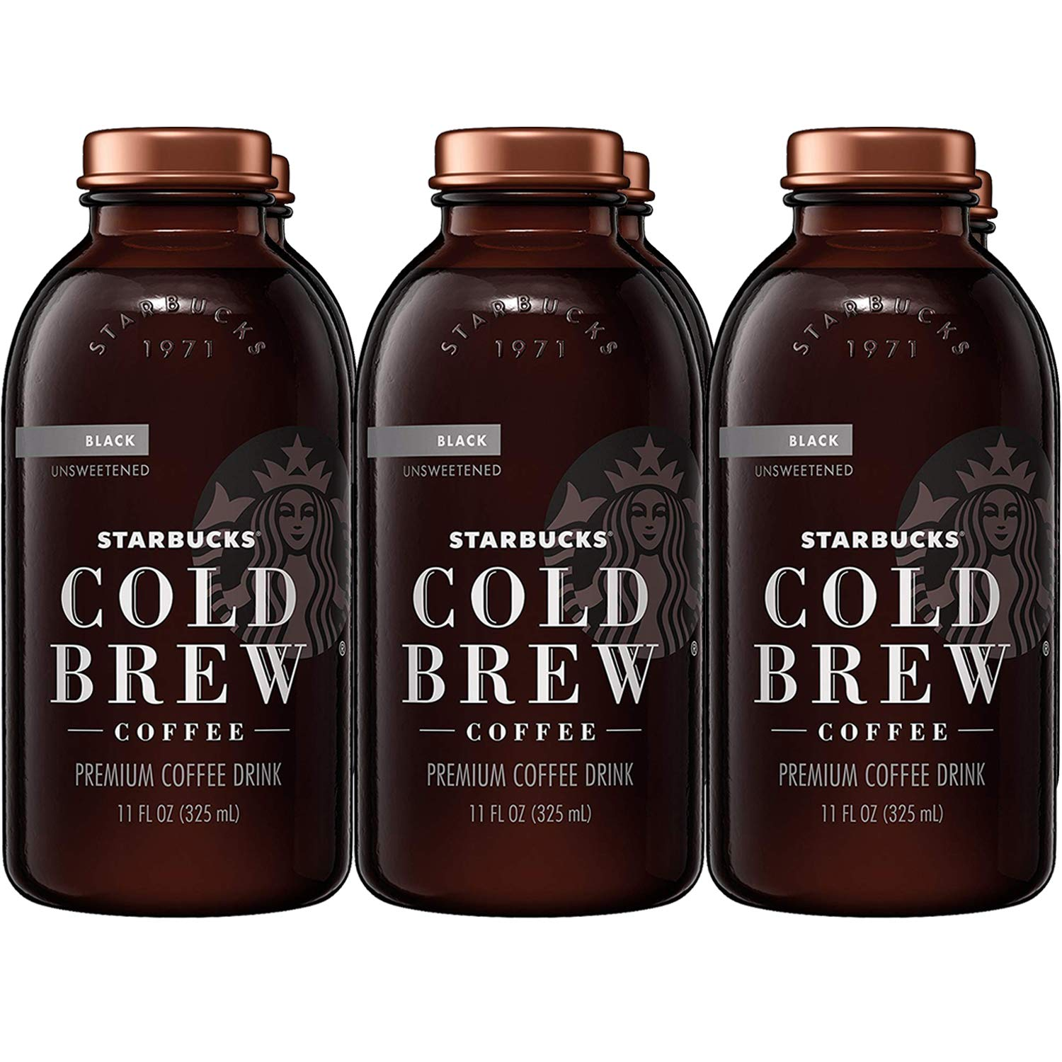 Cold Brew Coffee Black Unsweetened 11 Oz Glass Bottles 6 Count