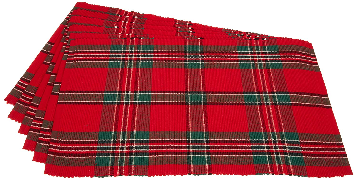 Holiday Plaid 100% Cotton Ribbed Placemats