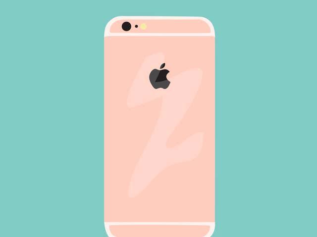 iphone rose sur un fond vert