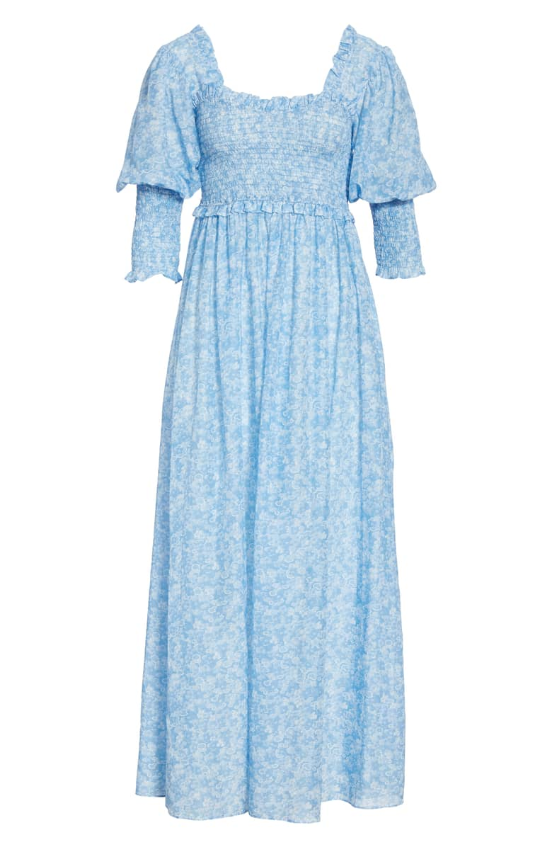 737751c5 Ganni + Floral Smocked Maxi Dress