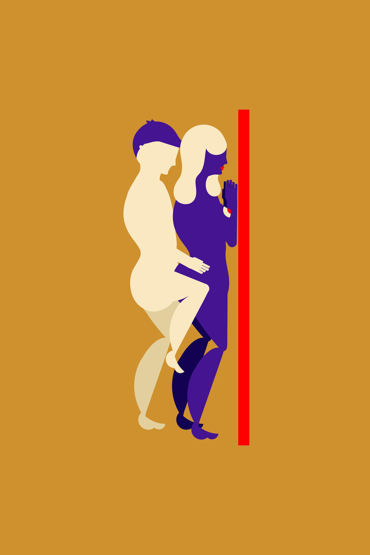frau stehen sex position