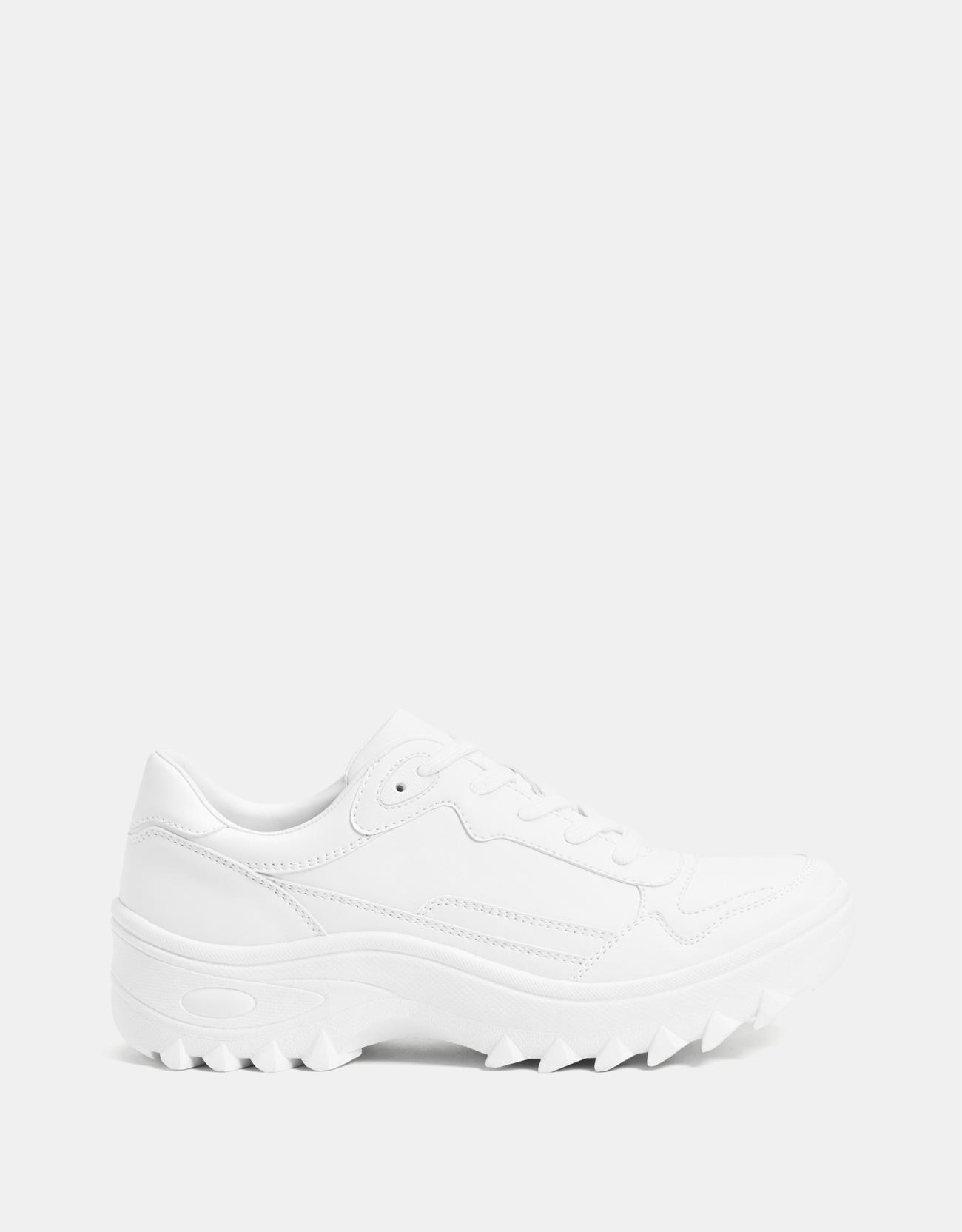 buy online best website popular stores Bershka + White Platform Sneakers