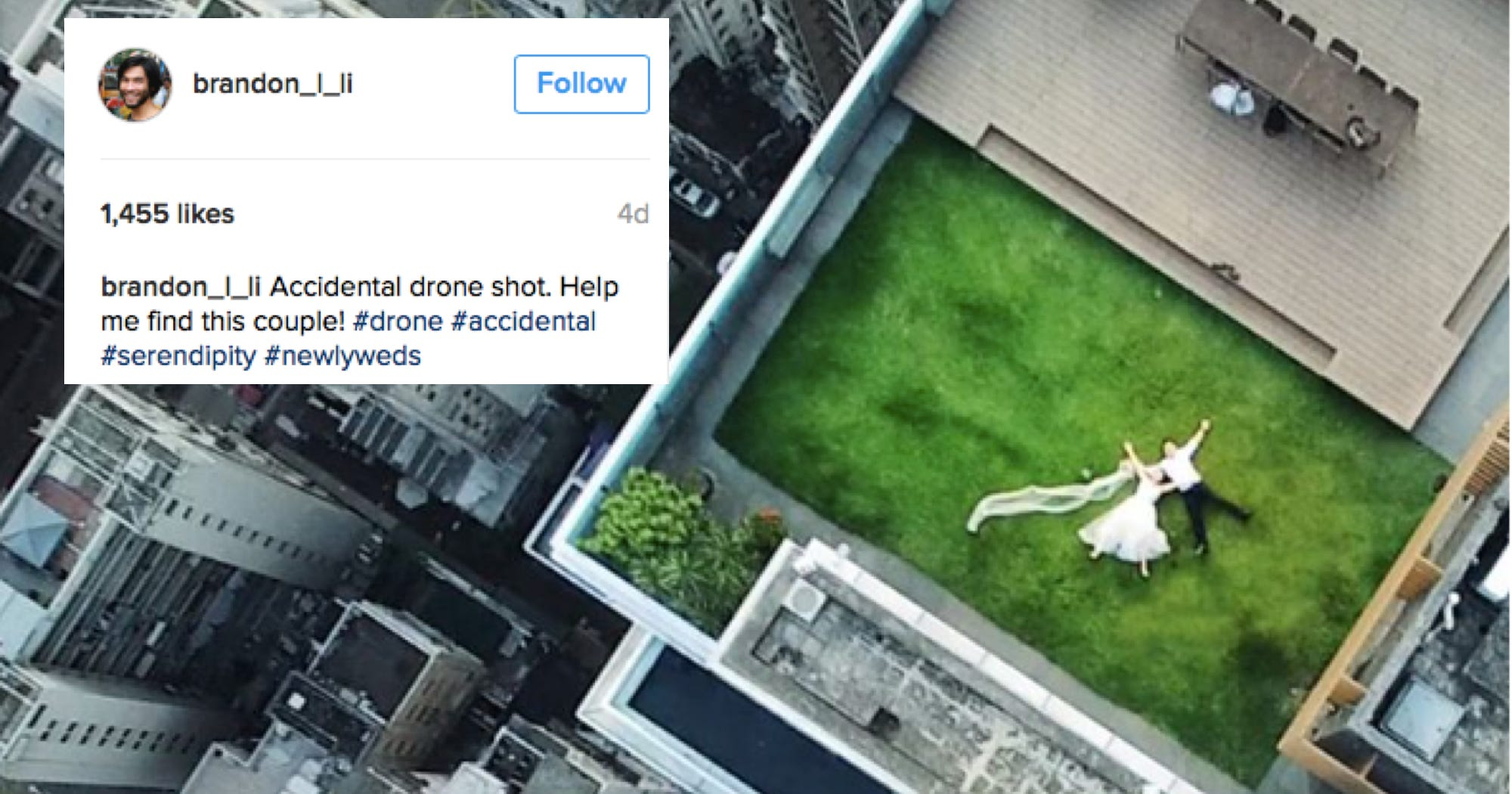 His Drone Took This Great Wedding Pic, Now He Wants To Find The Couple