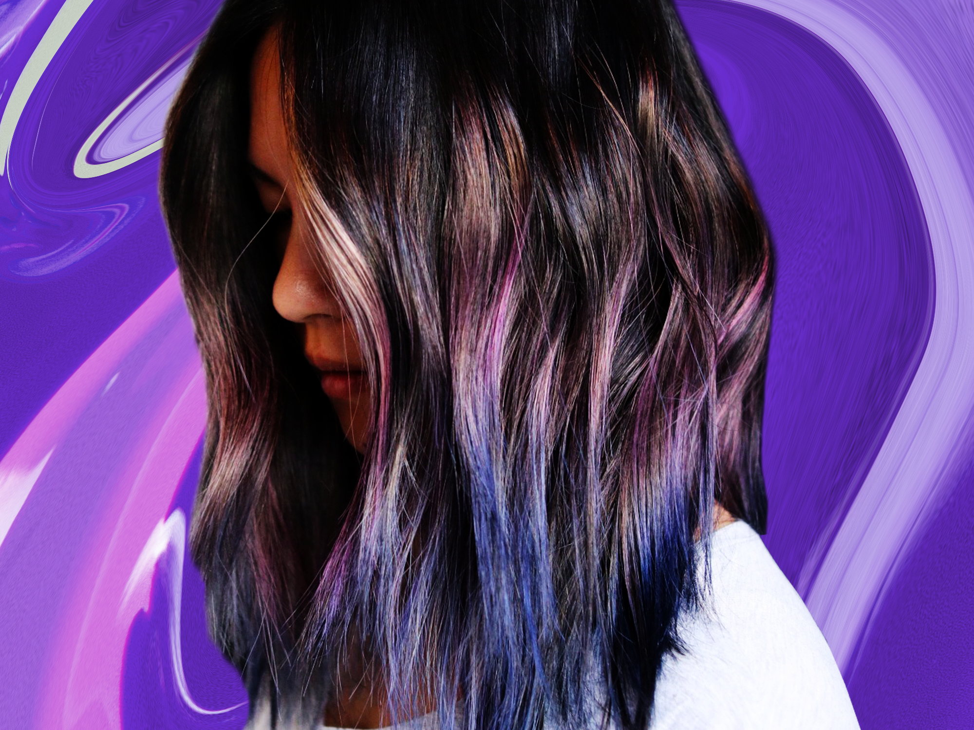 Beautiful geode hair twist with holographic purple