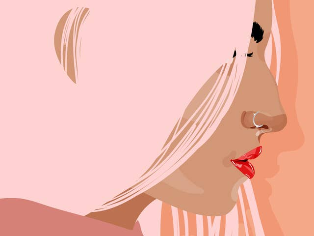 Illustration of the side profile of a woman with pink hair, a nose piercing and red lipstick