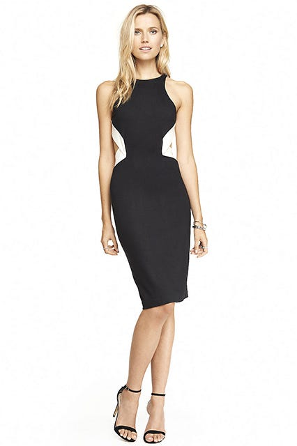 Express Color Block Open Back Sheath Dress