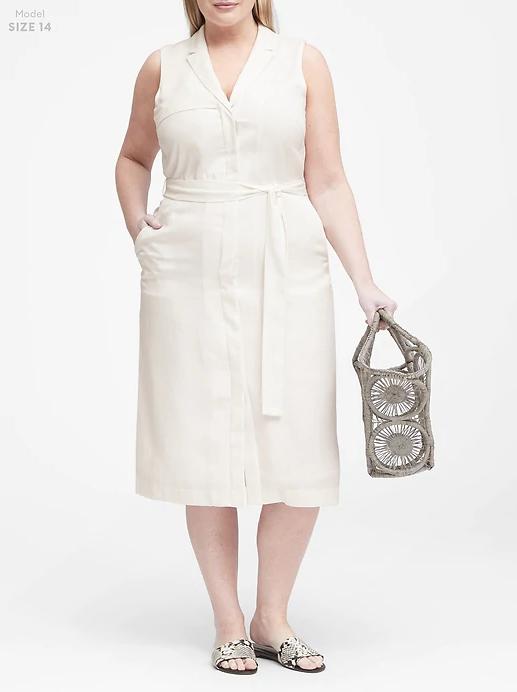 Plus-Size Tencel Trench Dress