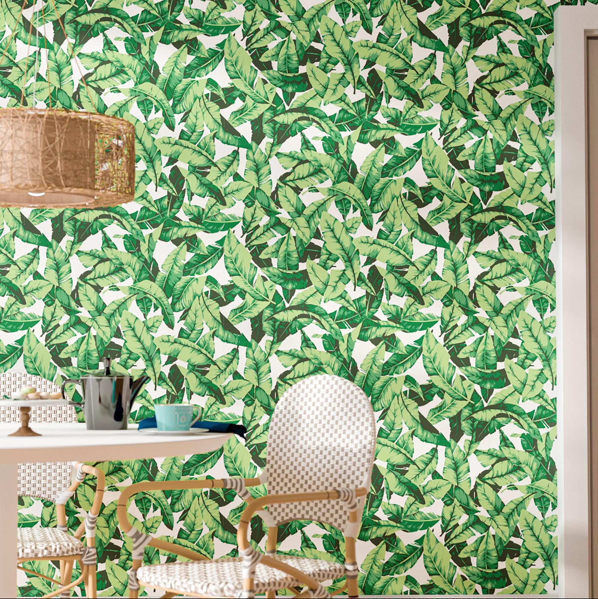 Taconite Palm Leaf Peel Stick Wallpaper Roll Per Sq Ft
