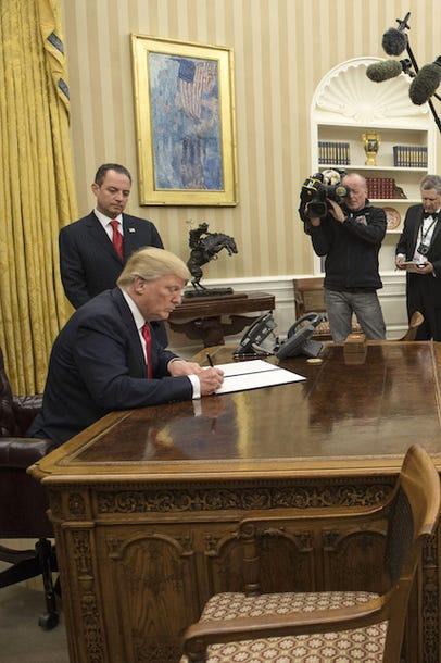 Donald Trump Redecorates Oval Office With Gold Curtains
