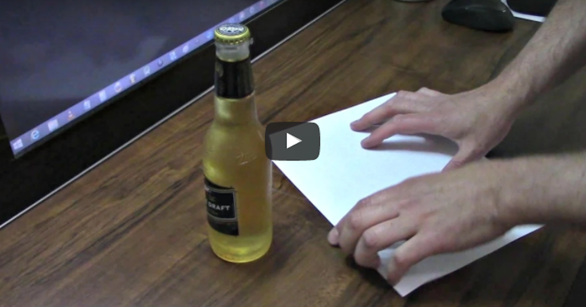 how to open a beer bottle with a piece of paper. Black Bedroom Furniture Sets. Home Design Ideas