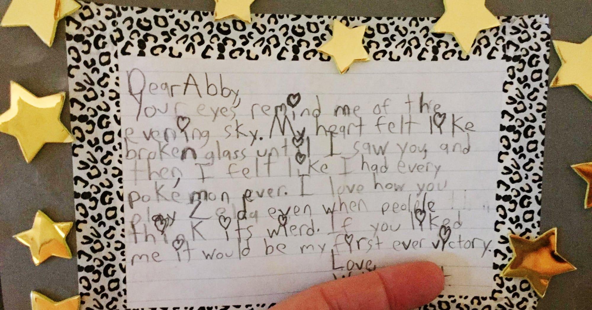 Fifth Grader Abby Love Letter Pokemon Reddit