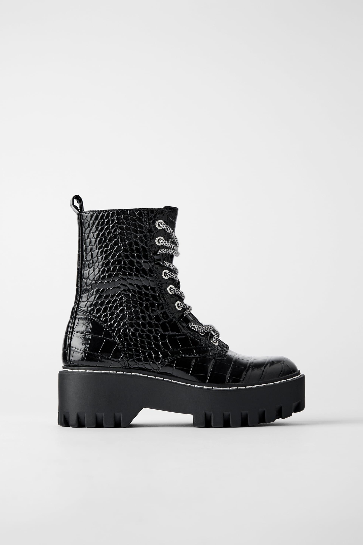 Zara + Animal Print Platform Ankle Boots