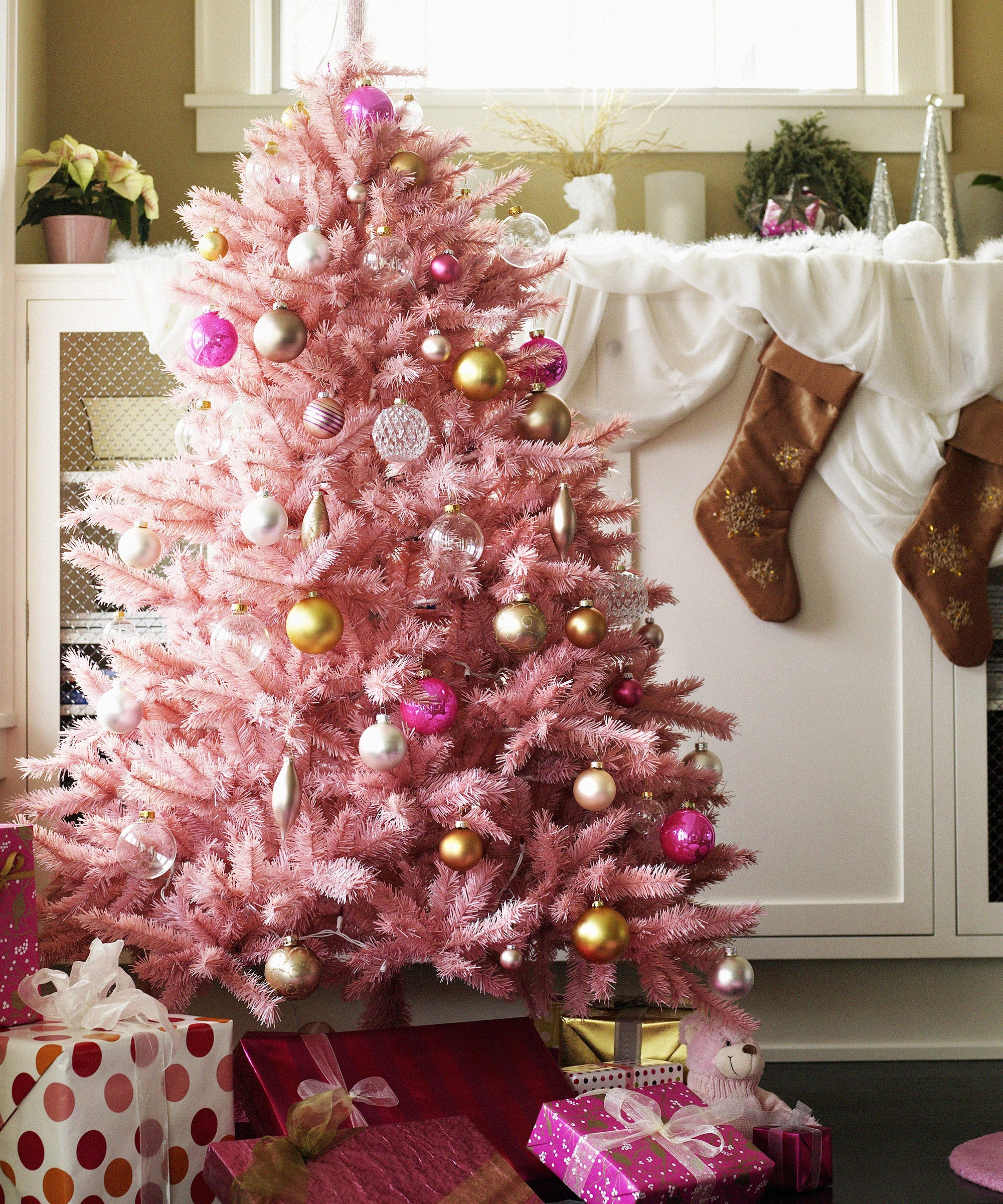 Pink Christmas Trees.Pink Christmas Tree Holiday Home Decor Instagram Trend