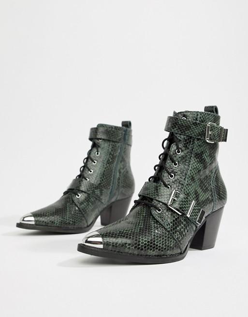 5b316cbd45 ASOS DESIGN + Rhythmic Premium Leather Western Lace Up Boots