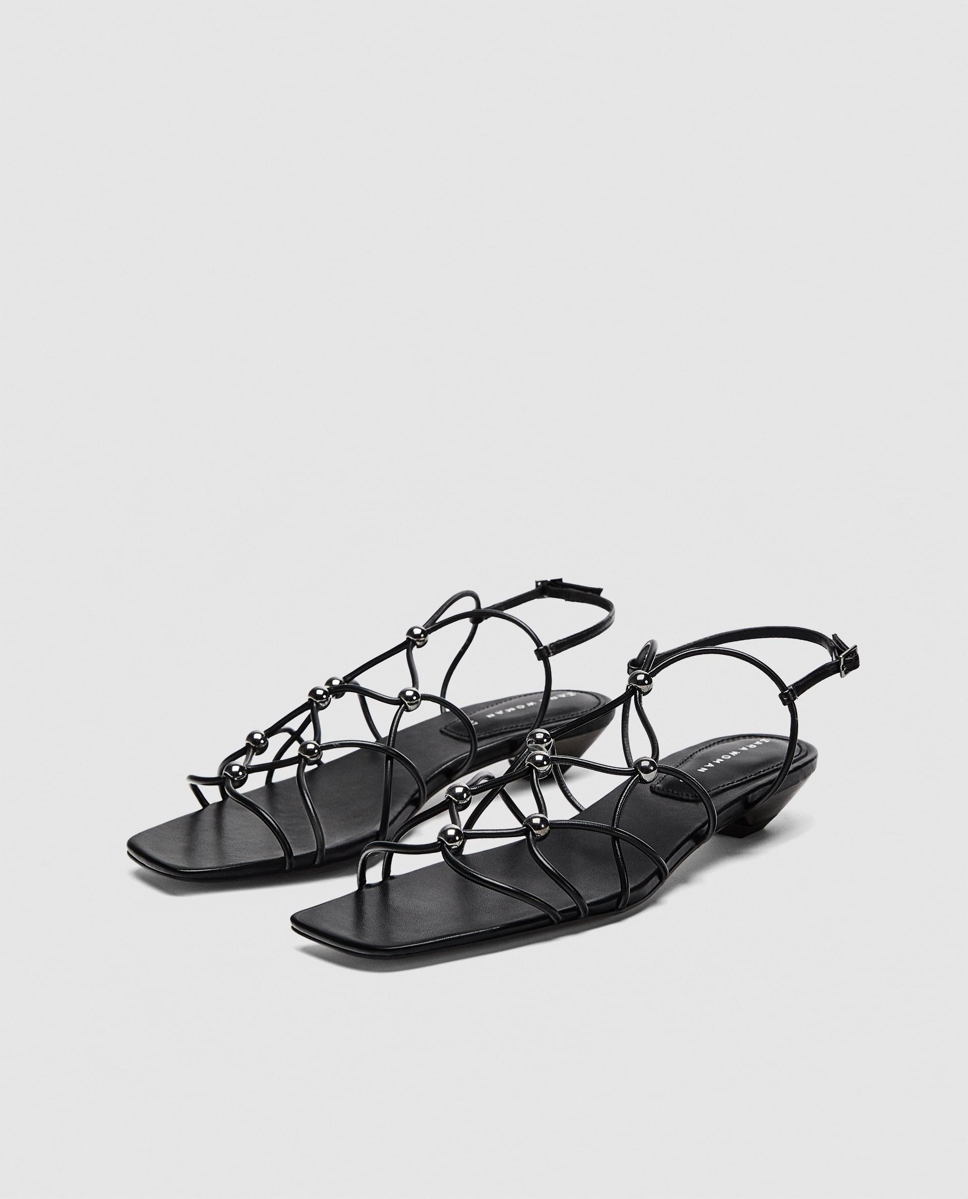 Zara + Strappy Sandals with Metal Details