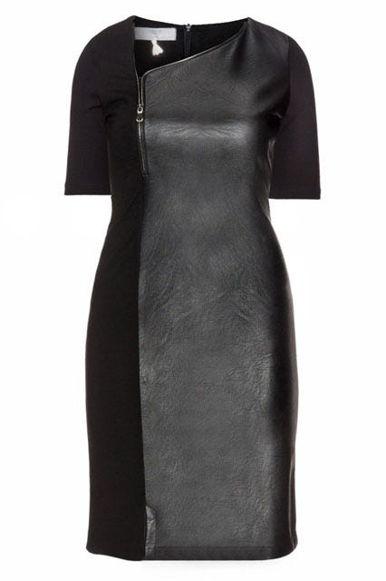Faux Leather Panel Dress