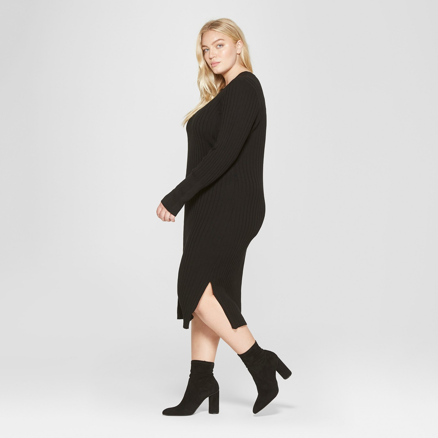 Plus Size Long Sleeve Ribbed Midi Sweater Dress