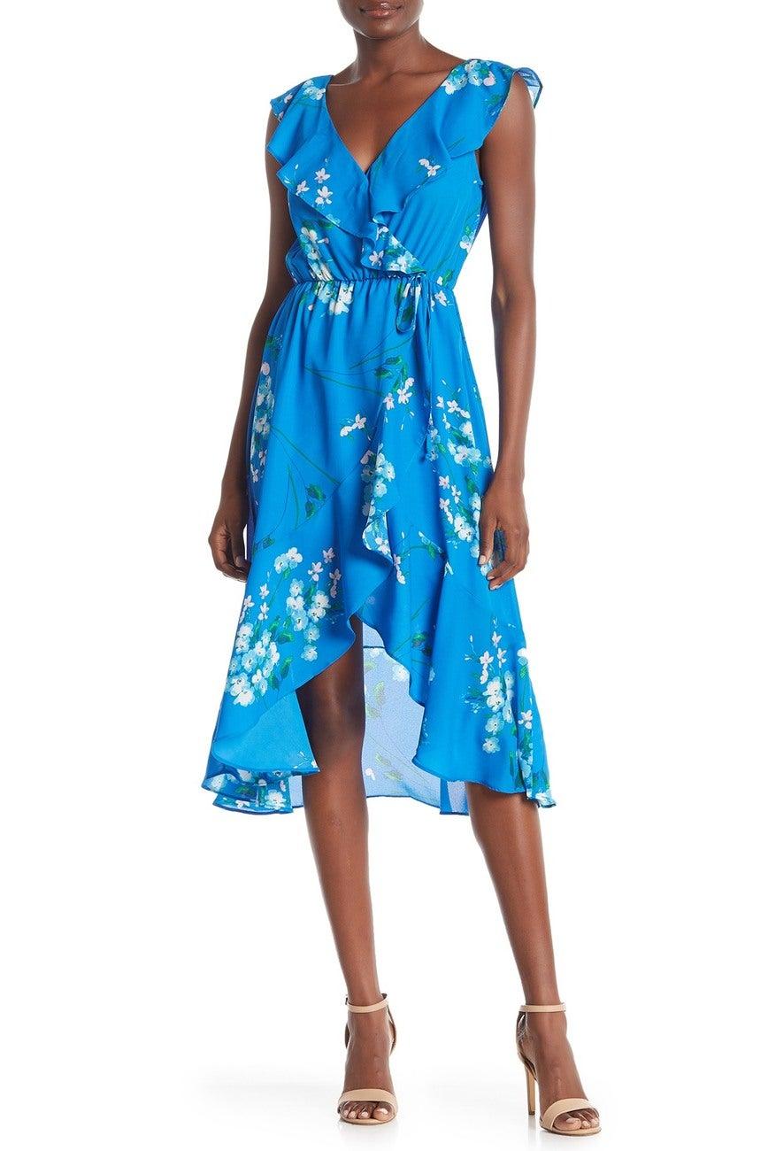 Socialite Ruffle Wrap Hi Lo Midi Dress