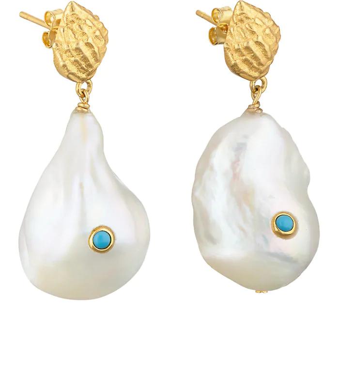 eba68ff7e Anni Lu + Baroque Pearl Shell Earrings