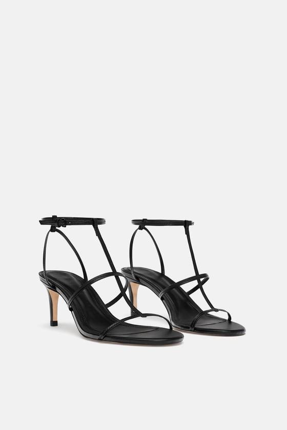 Zara + Leather High Heeled Strappy Sandals