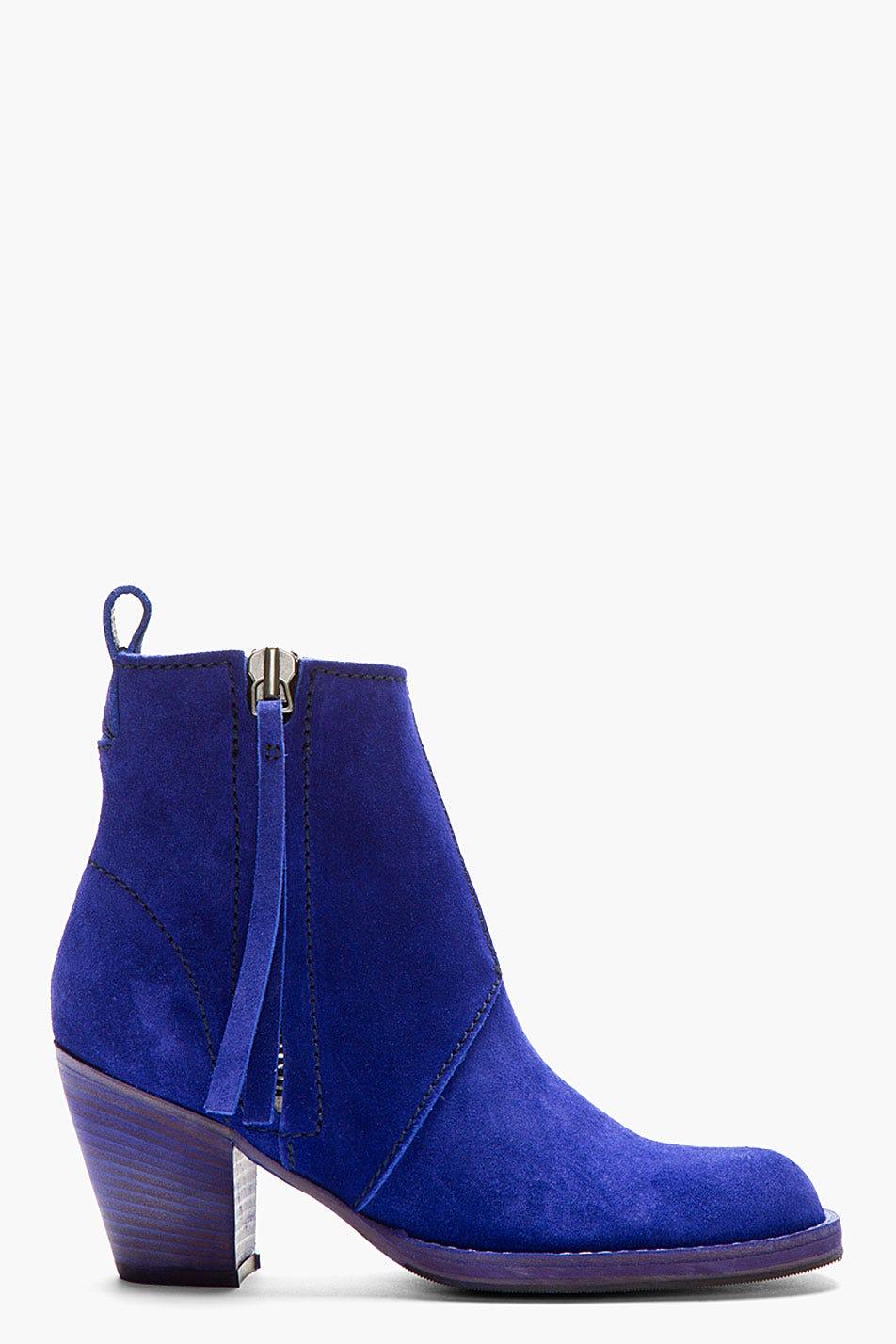 fbde8262cde Indigo Blue Cuban-Heeled Suede Ankle Boot