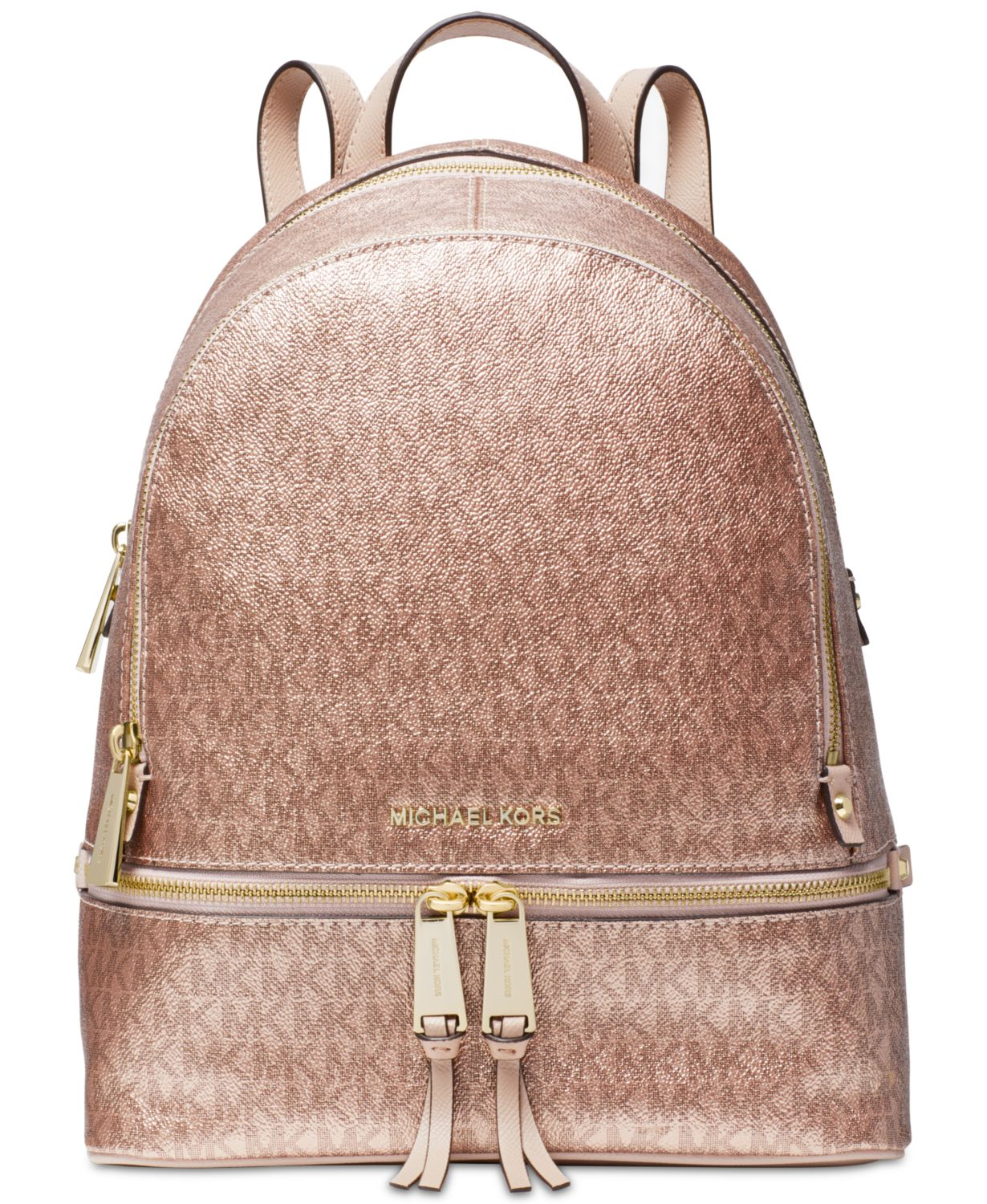 24f64771a42b Michael Kors + Metallic Signature Rhea Zip Backpack