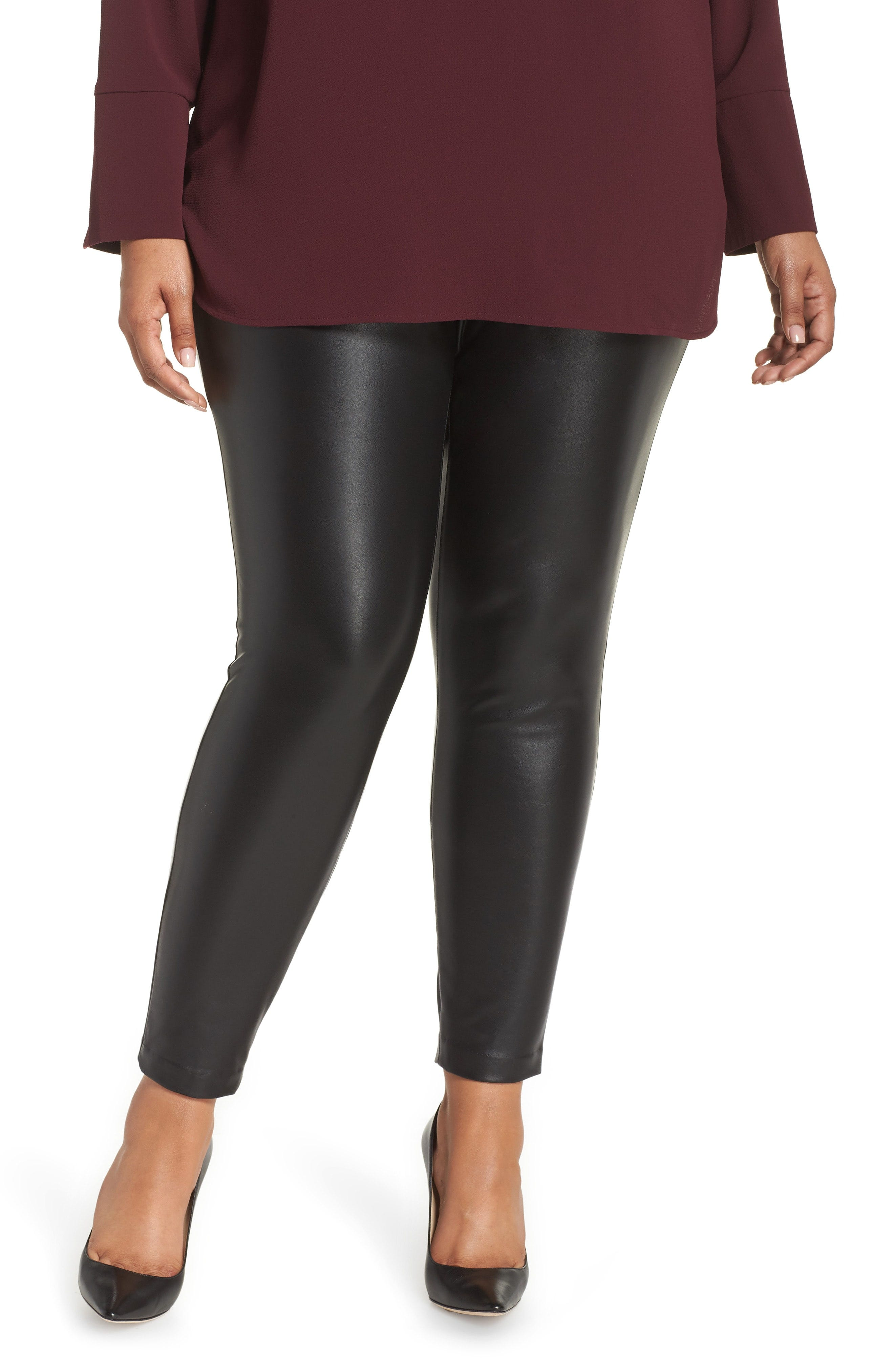 save up to 60% buy best good texture Plus-Size Stretch Faux Leather Skinny Pants