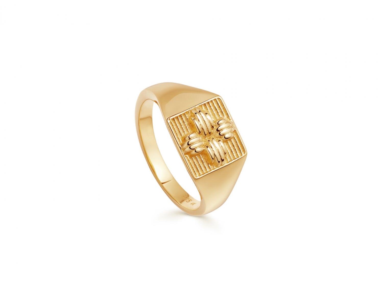 Lucy Williams Gold Ridge Cross Signet Ring