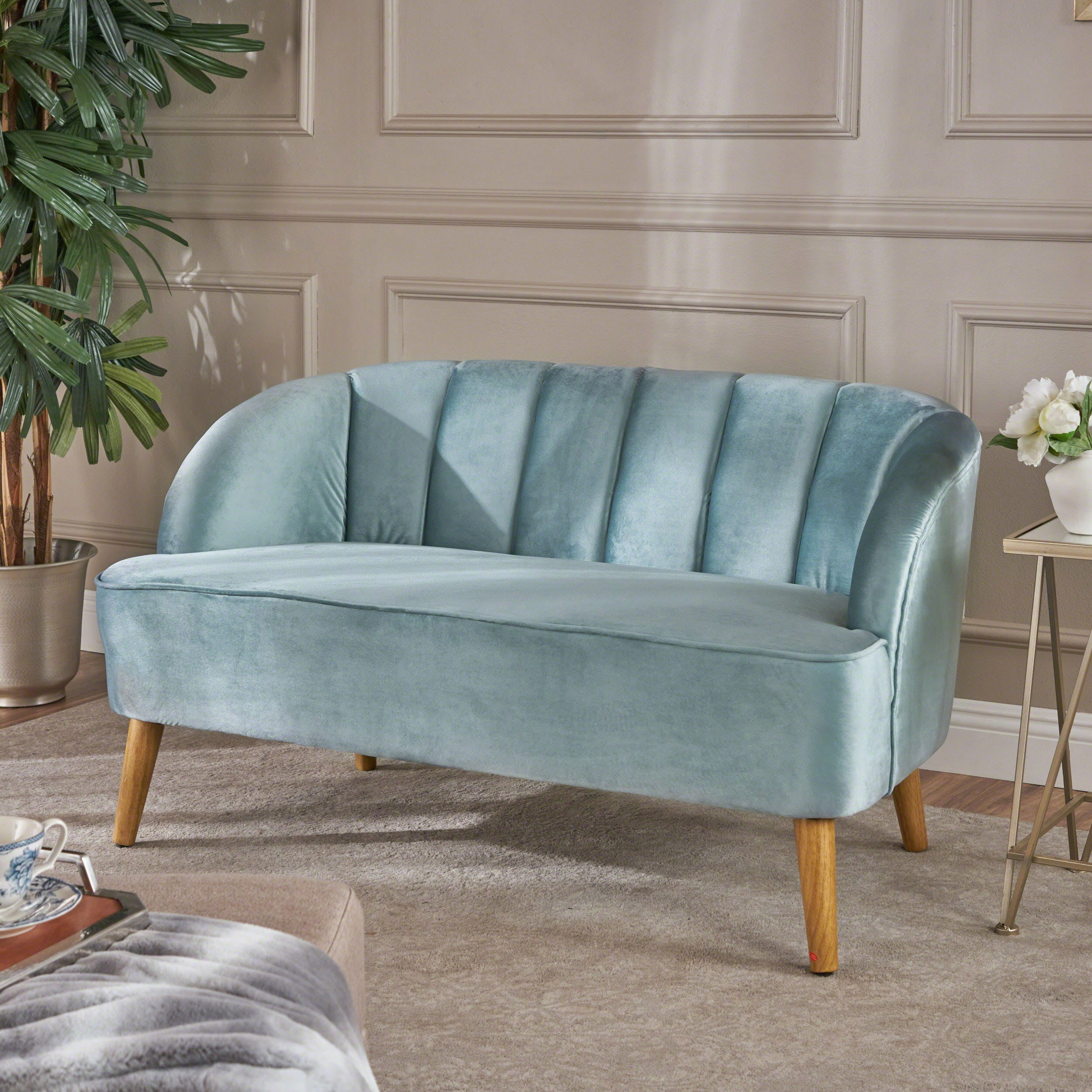 Strange Modern Velvet Loveseat Seafoam Blue Gamerscity Chair Design For Home Gamerscityorg