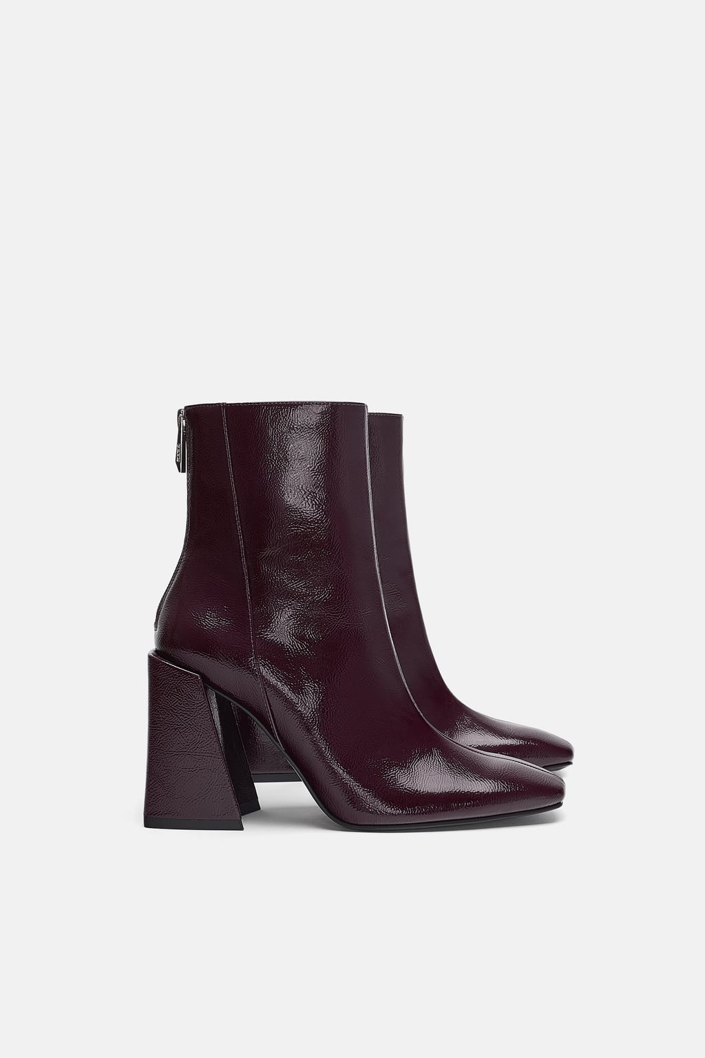the cheapest clearance prices check out Zara + HEELED ANKLE BOOTS WITH A FAUX PATENT FINISH