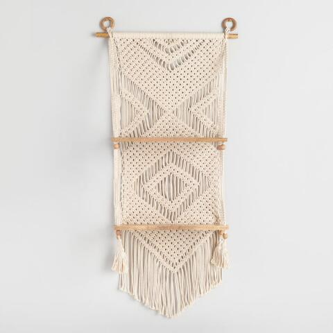 Cost Plus World Market White Macrame And Wood 2 Tier